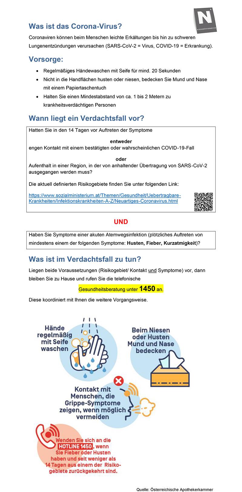 Informationsblatt Coroanvirus